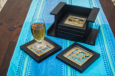 Set of 6 coasters with stand ( Black )