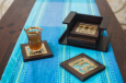 Set of 6 coasters with stand ( Brown )